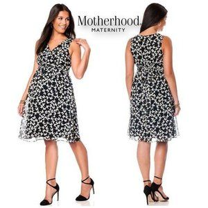 MOTHERHOOD MATERNITY B&W Butterfly Print Dress